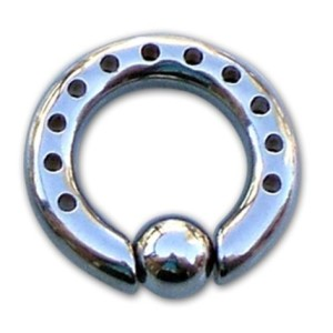Ring with ball with holes 2 mm.