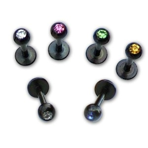 Labret with stone Black line 1.2 mm.
