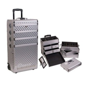 Suitcase tattoo with drawers silver