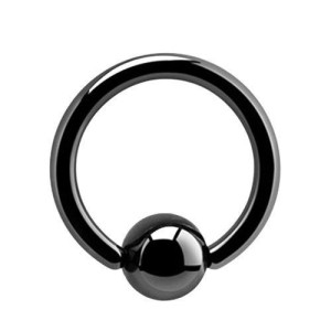 Ring with Black Ball line 1.6 mm.
