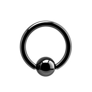 Anello con Black Ball linea 1,2 mm.