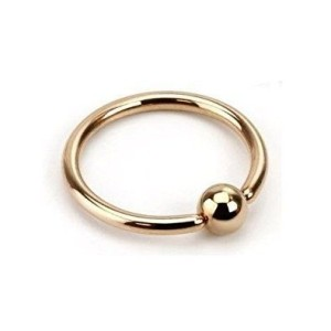 Ring with ball Gold plated 1.6 mm.