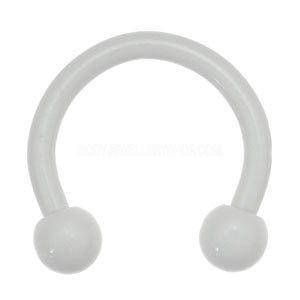 Barbell circulaire avec des boules blanc ligne 1,2 mm.