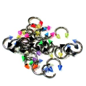 25 Circular barbell with cones assorted acrylic 1.2