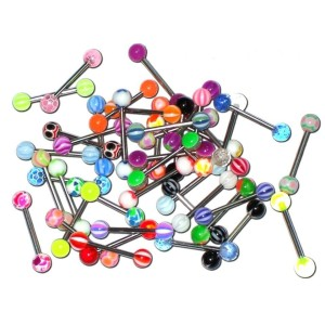 25 Barbells with balls assorted acrylic 1.6 mm.