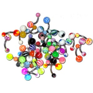 25 Navels with balls assorted acrylic 1.6 mm.
