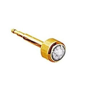 Botão mini de ouro branco de pedra
