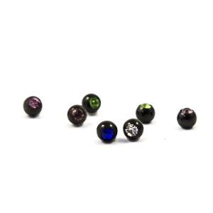 Ligne de boules avec des bijoux noir 1,2 mm