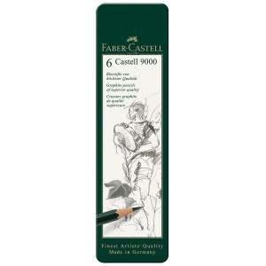 Caso 6 metallo grafite matite Faber Castell 9000