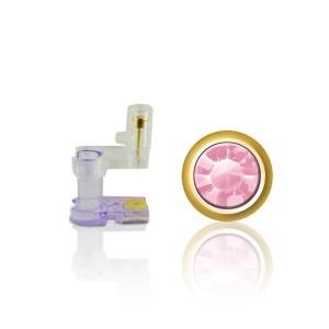 Botão mini ouro rosa claro pedra